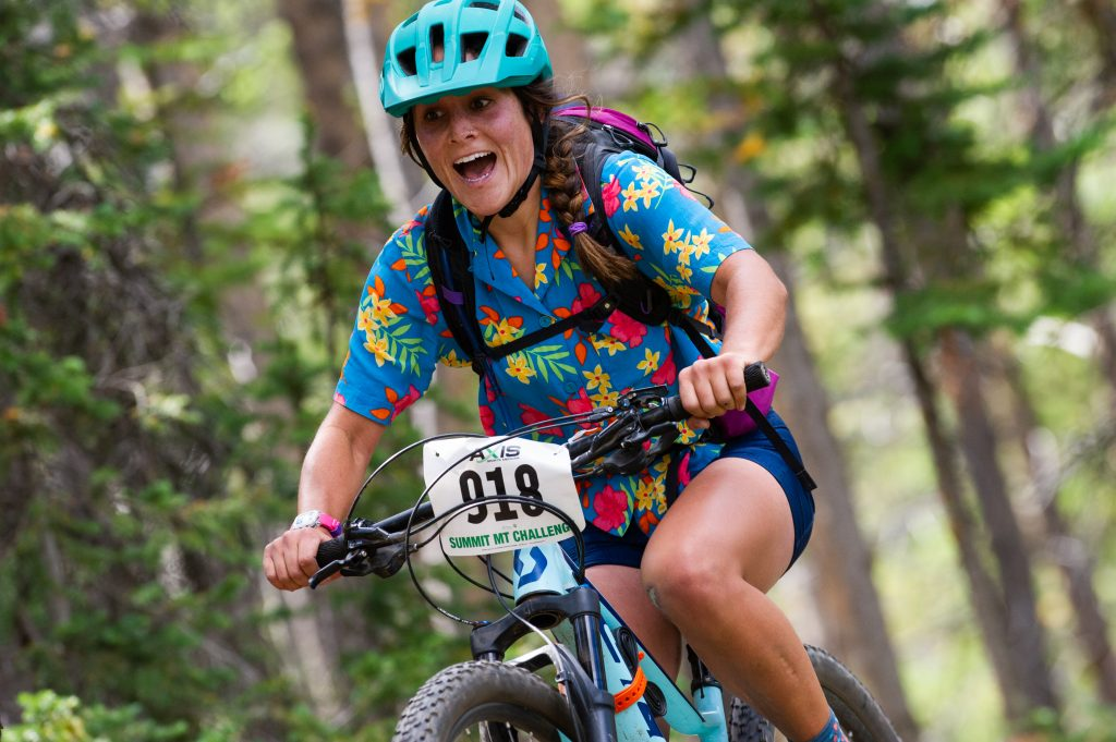 Maria Leech of Dillon rides through singletrack trail during Sunday's Fall Classic 21-mile mountain bike race. Leech took first place in the beginner women division with a time of 2:11:32 on the 3,000-foot elevation-gain course.
