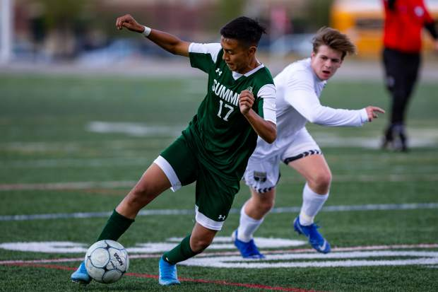 Alex Casillas (17) evades Trevin Twiss (3) during the first half of the game versus Battle Mountain at Summit High in Breckenridge on Tuesday, Sept. 17. The Tigers fell to the Battle Mountain Huskies 5-0.