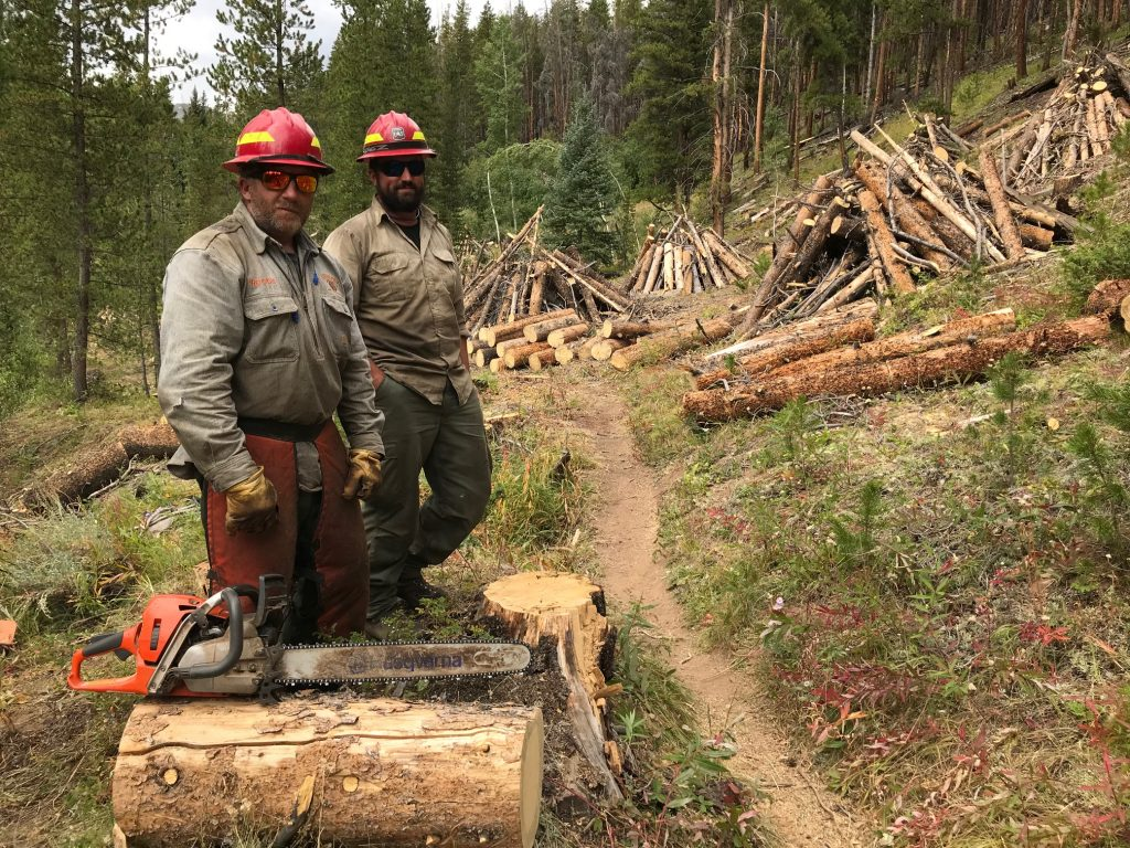 Crews perform fuels reduction work at Middle Barton, near Breckenridge, earlier this month.
