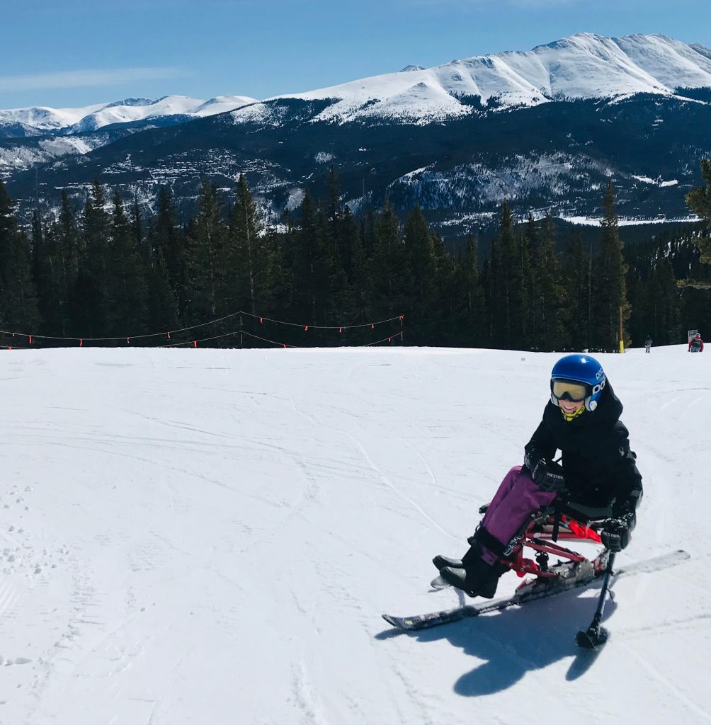 Burke Ryder enjoying a day on the slopes in his sit-ski.