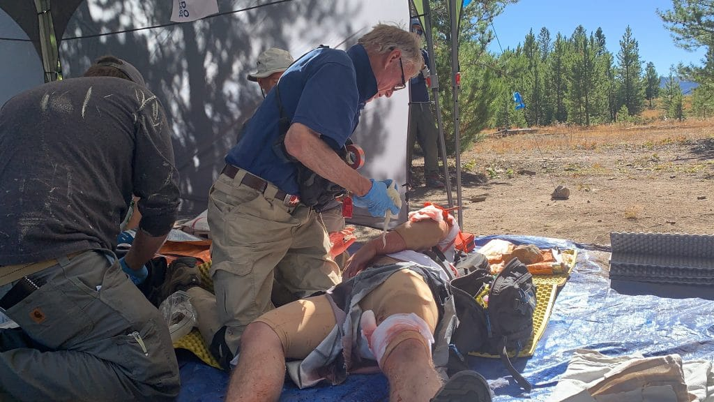 Students in the Colorado Mountain College first responder course face their final field test Oct. 1 near the Windy Point campground. Students were asked to give medical care to mock patients with fake blood and injuries.