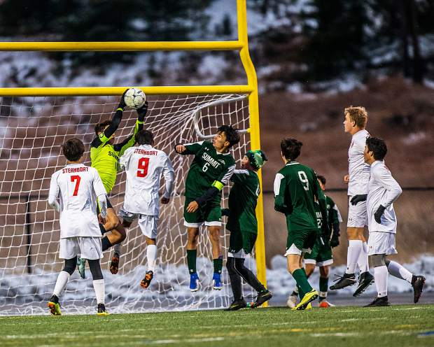 Chris Orozco (1) makes another incredible save against Steamboat in the first half of the game at Summit High in Breckenridge on Tuesday, Oct. 22.