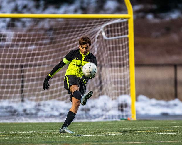 Chris Orozco (1) kicks the ball down field as the Tigers take on the Steamboat Sailors in the first half of the game at Summit High in Breckenridge on Tuesday, Oct. 22.