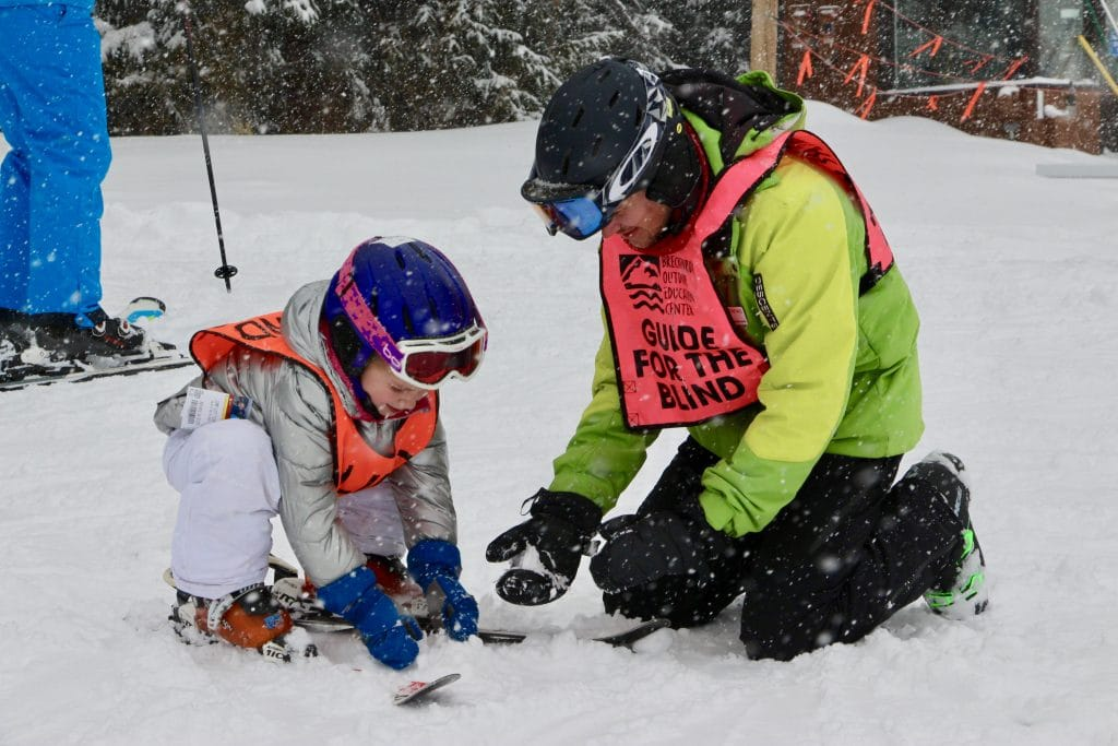 A young adaptive skier takes a lesson through the Breckenridge Outdoor Education Center.