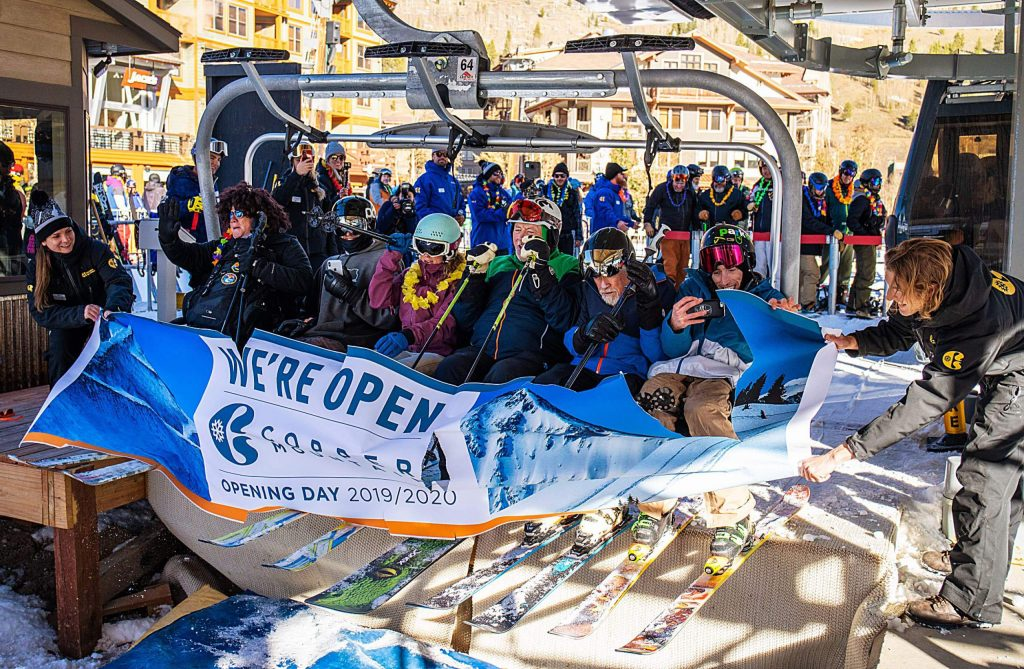 The first chair riders break the ribbon signifying the start of the season at Copper Mountain. The Summit County resort started hosting Alpine training for the U.S. Ski Team on Wednesday, and opened to the general public on Friday.