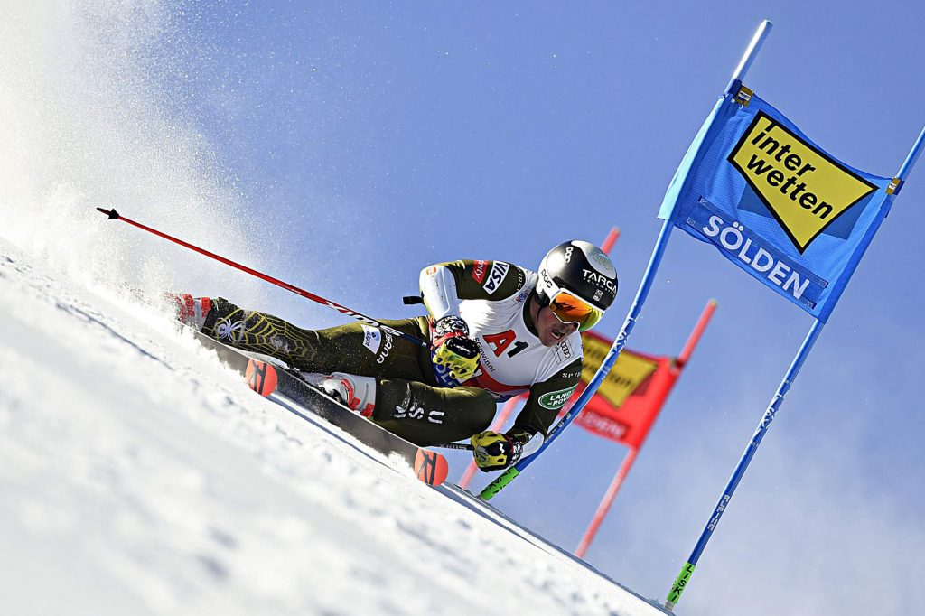 Edwards ski racer River Radamus competes in the giant slalom at the first World Cup of the 2019-20 season Oct. 27 in Soelden, Austria.