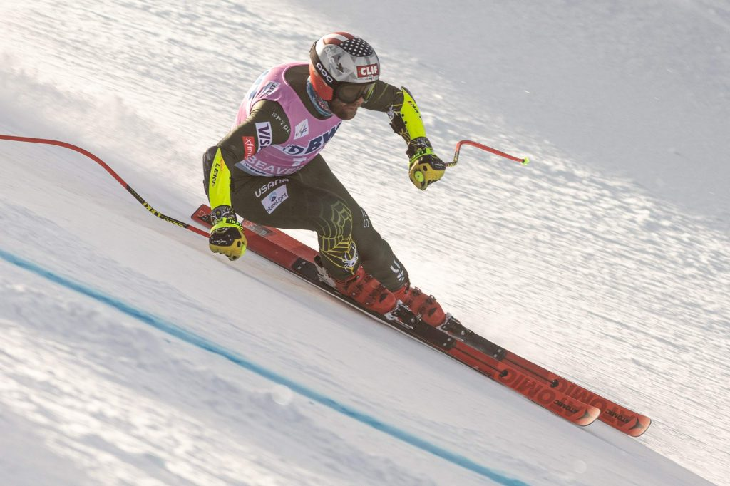 Travis Ganong flies through a corner while racing on the Xfinity Birds of Prey FIS World Cup super-G course on Friday in Beaver Creek. Ganong finished sixth with a time of 1 minute, 11.59 seconds.