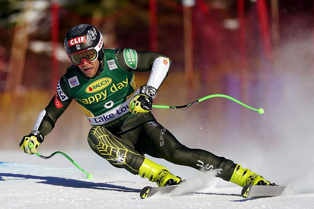 Steven Nyman, of the United States, skis down the course during the men's World Cup super-G ski race in Lake Louise, Alberta, Sunday, Dec. 1, 2019. (Frank Gunn/The Canadian Press via AP)