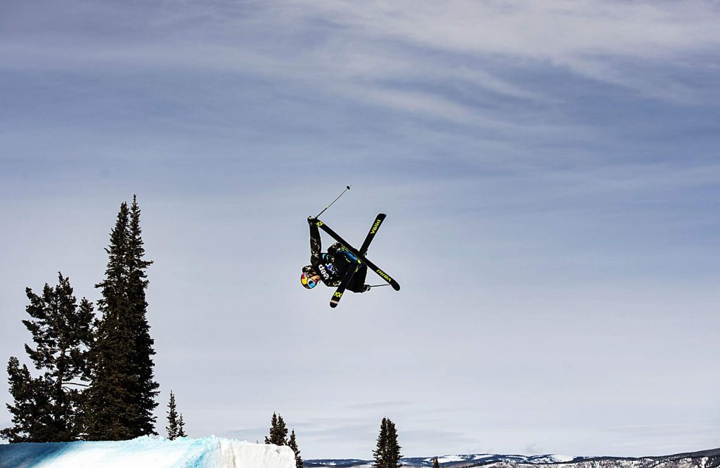 Nick Goepper competes during the men's ski slopestyle qualifiers on Friday, Jan. 24, 2020. Goepper qualified for the final on Saturday 12:30. (Kelsey Brunner/The Aspen Times)