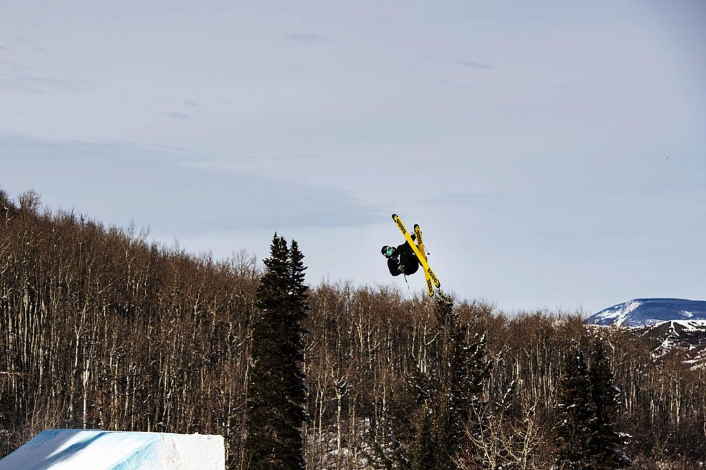 Colin Wili hits the first jump during the men's ski slopestyle qualifiers on Friday, Jan. 24, 2020. (Kelsey Brunner/The Aspen Times)