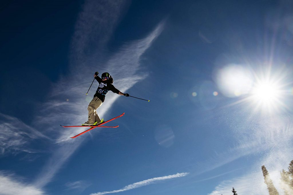 Evan McEachran hits the first jump during practice for the men's ski slopestyle qualifiers on Friday, Jan. 24, 2020. McEachran will be competing n the finals on Saturday 12:30. (Kelsey Brunner/The Aspen Times)