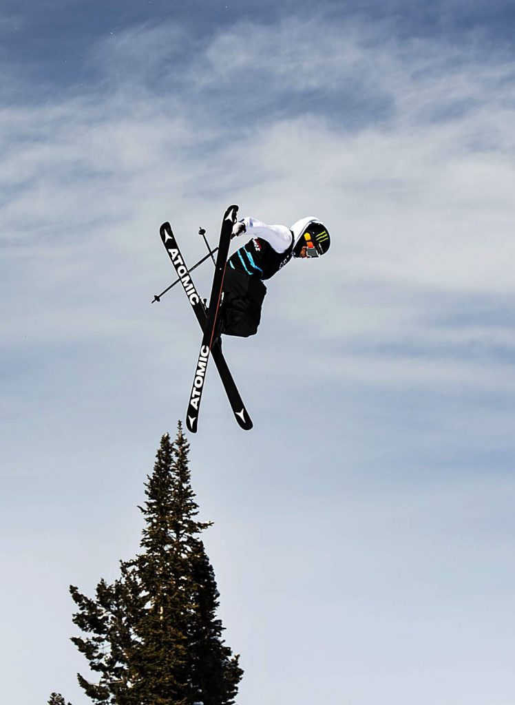 Gus Kenworthy hits the first jump during his last run at the men's ski slopestyle qualifying event on Friday, Jan. 24, 2020. (Kelsey Brunner/The Aspen Times)