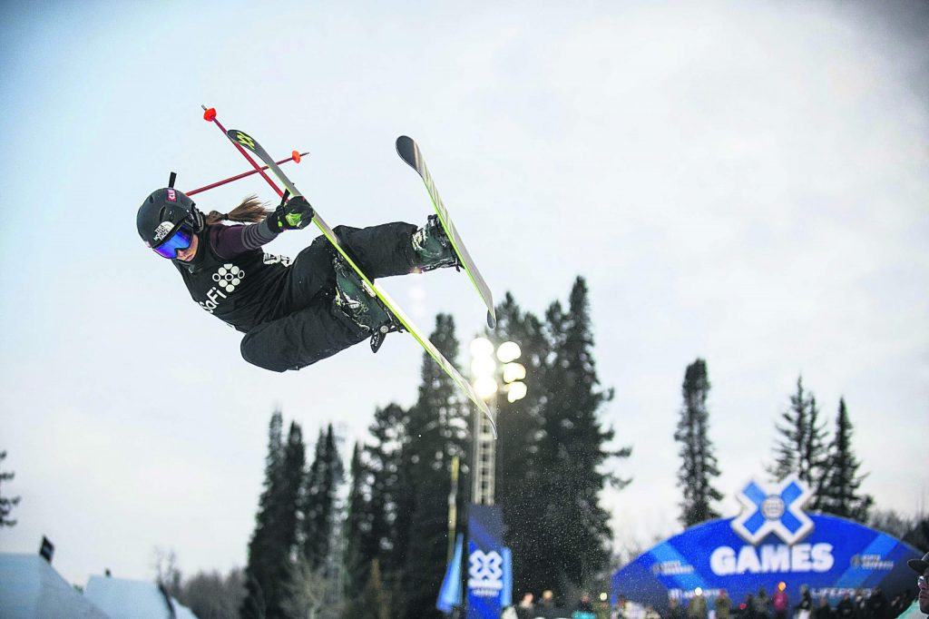 U.S. freeskier Maddie Bowman practices before the women's ski superpipe finals for X Games 2018 at Buttermilk Ski Area.