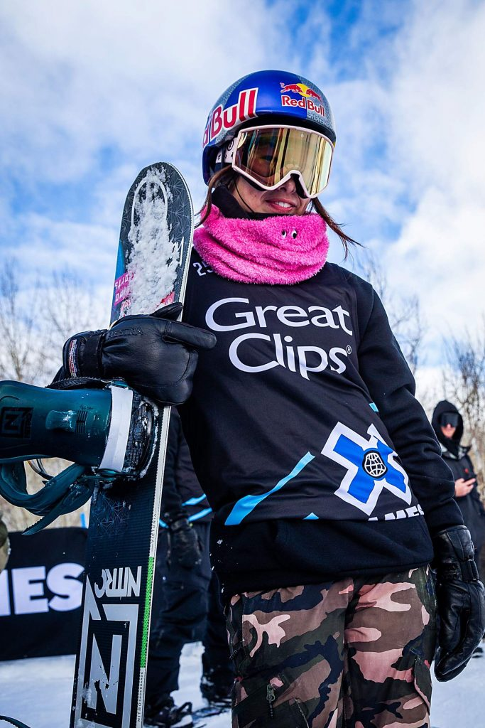 Miyabi Onitsuka gets ready to drop in for practice before the women's snowboard slopestyle final at X Games Aspen on Saturday, Jan. 25, 2020, at Buttermilk Ski Area in Aspen Snowmass, Colo. (Liz Copan/Summit Daily News via AP)