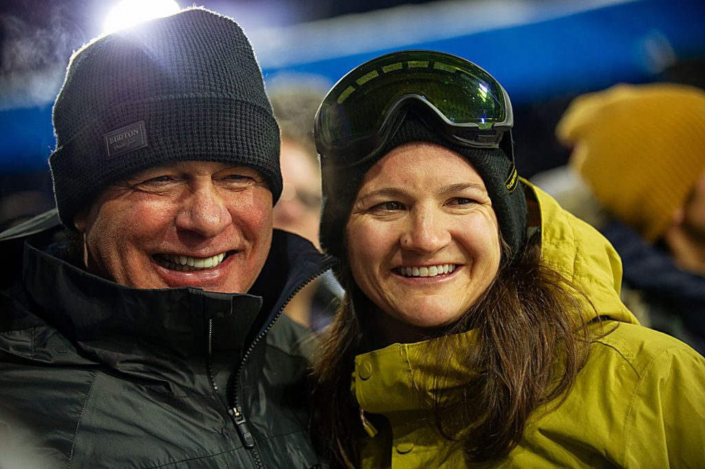 Jake Burton Carpenter and Kelly Clark hang out at the bottom of the X Games superpipe in January 2019 after her final run.