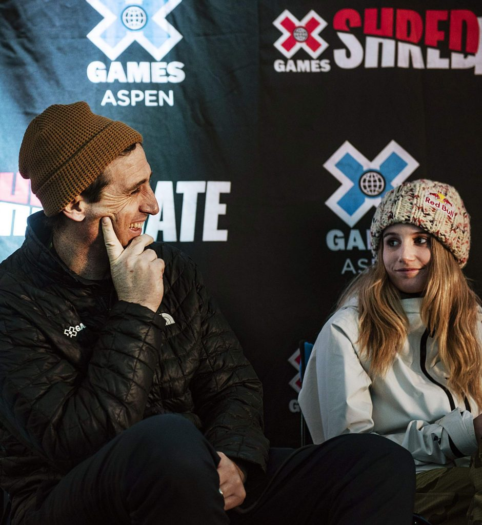 X Games Vice President Tim Reed and Snowboard Slopestyle and Big Air athlete Anna Gasser sit on a panel for a press conference before the official start of the 2020 X Games at Buttermilk on Wednesday, Jan. 22.