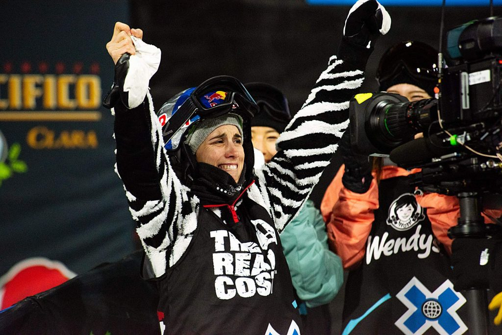 X Games gold medalist Queralt Castellet celebrates at the bottom of the superpipe after the women's snowboard finals. Castellet won the medal on the day of her grandmother's 85th birthday.