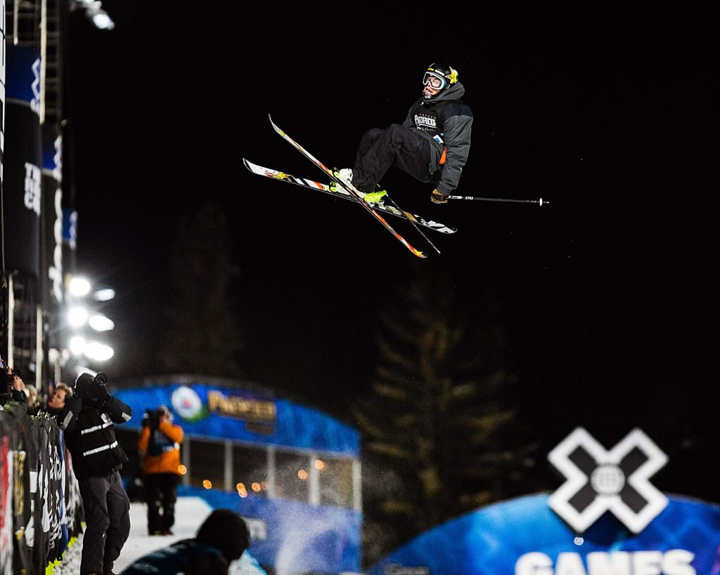 Aaron Blunck of Crested Butte, Colo. wins silver in the men's ski superpipe finals on Sunday, Jan. 26, 2020, at Buttermilk Ski Area in Aspen Snowmass, Colo. (Liz Copan/Summit Daily News via AP)