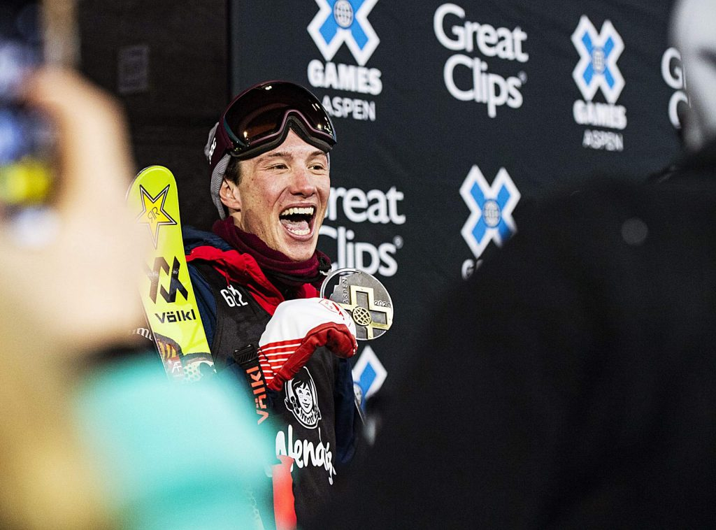 David Wise of Reno, Nev. reacts after his final run in the men's ski superpipe finals on Sunday, Jan. 26, 2020, at Buttermilk Ski Area in Aspen Snowmass, Colo. (Liz Copan/Summit Daily News via AP)