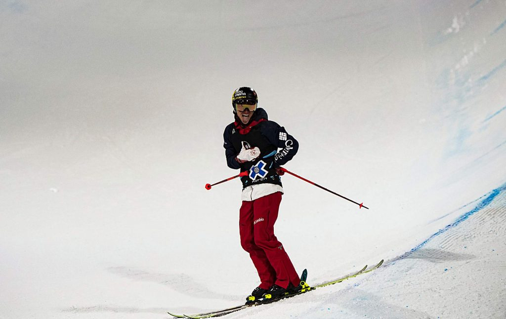 David Wise of Reno, Nev. competes in the men's ski superpipe finals on Sunday, Jan. 26, 2020, at Buttermilk Ski Area in Aspen Snowmass, Colo. (Liz Copan/Summit Daily News via AP)