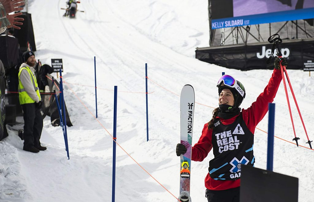 X Games skier Sarah Hoefflin waves to the cheers after finishing a run during the women's slopestyle final on Sunday, Jan. 26, 2020. (Kelsey Brunner/The Aspen Times)