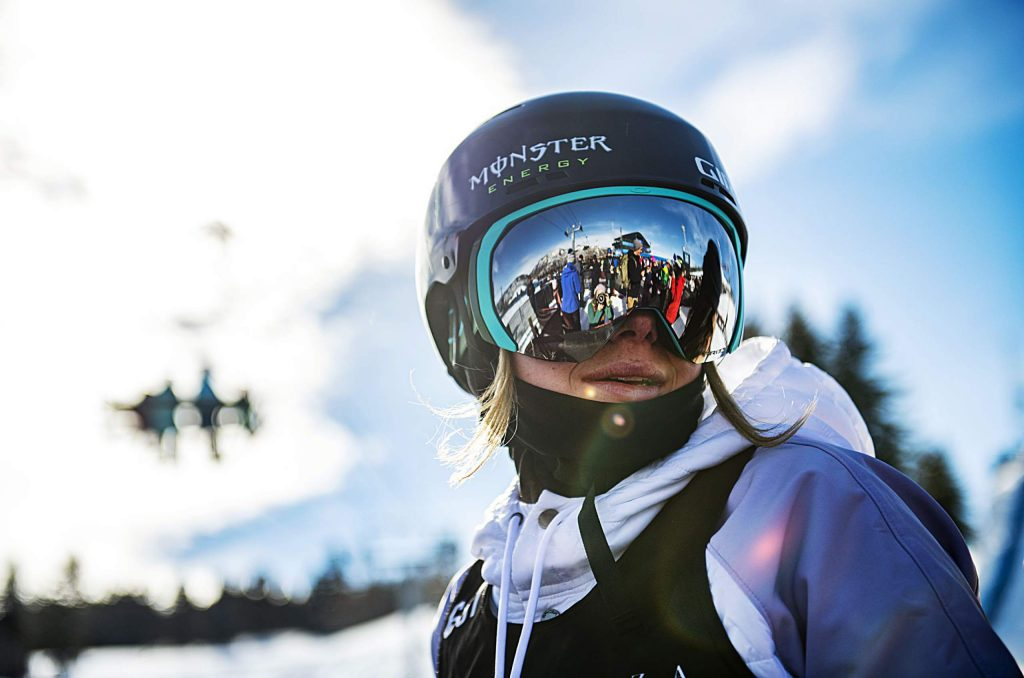 X Games skier Maggie Voisin stands at the bottom of the slopestyle course after finishing with a bronze medal in the women's ski final on Sunday, Jan. 26, 2020. (Kelsey Brunner/The Aspen Times)