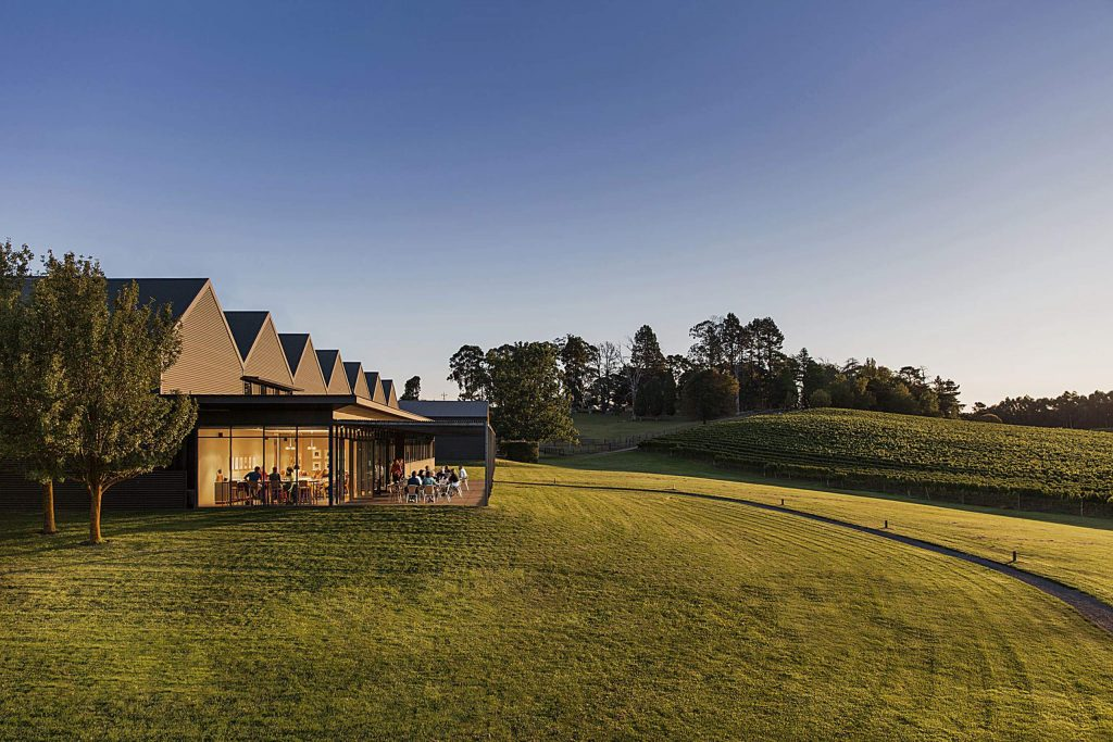 Michael HIll Smith produces wines at the Shaw + Smith Winery in the Adelaide HIlls of Australia with his cousin Martin Shaw. The efficient, industrial architecture of their tasting room and production facility has won accolades for its design.