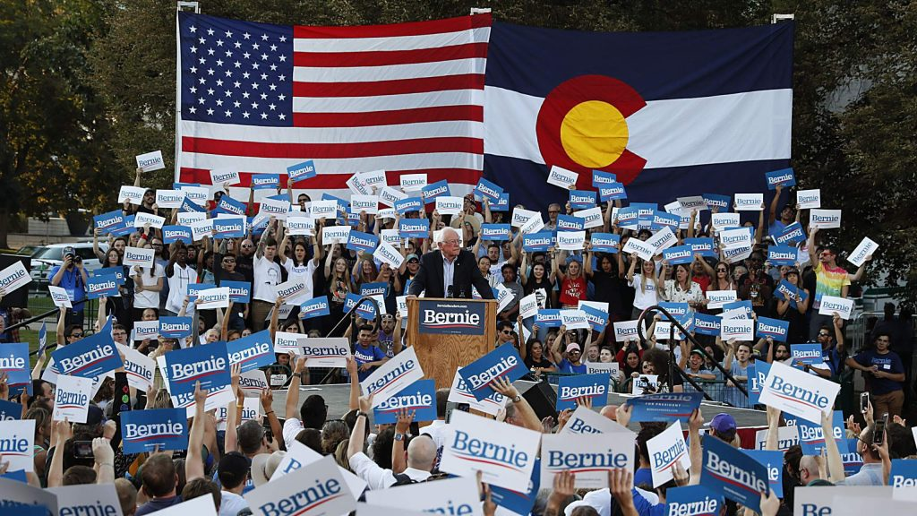 Democratic presidential candidate Sen. Bernie Sanders, I-Vermont, speaks during a rally at a campaign stop in September 2019 in Denver.