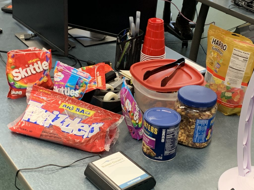 A snack table to help staff keep their spirits up during long days at the county's emergency operations center.