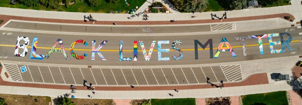 A Black Lives Matter mural is seen in front of Frisco Town Hall, between Madison and First avenues, on July 14. The artwork was organized by Frisco artist and activist Shannon Galpin. People locally and from across the state worked on the town-approved piece, which is believed to be the first of its kind in a rural mountain town.