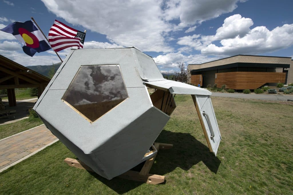 Travis Construction's playhouse was inspired by recent innovations in space flight. The Town of Dillon's Playhouse Project, presented by the Summit Association of Realtors, is on display through Sept. 7.