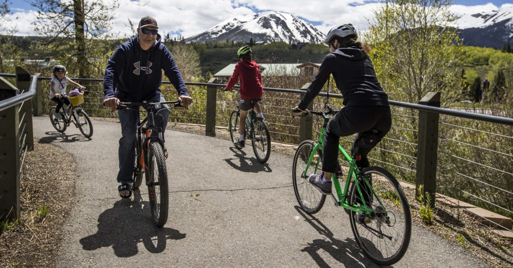 Follow the Blue River Trail on foot, bike or stroller to the north end of town. (Photo courtesy of Town of Silverthorne)